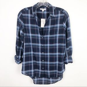 J. Crew Tartan Derry Plaid Button Down Navy Sz XS